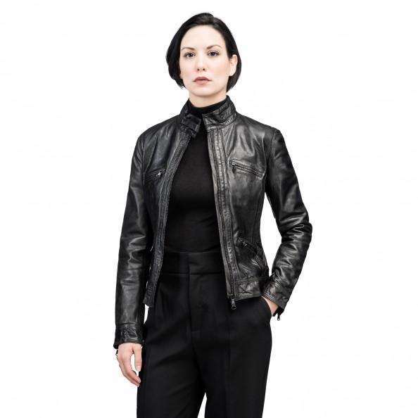 Noir Blouson de moto à quatre poches