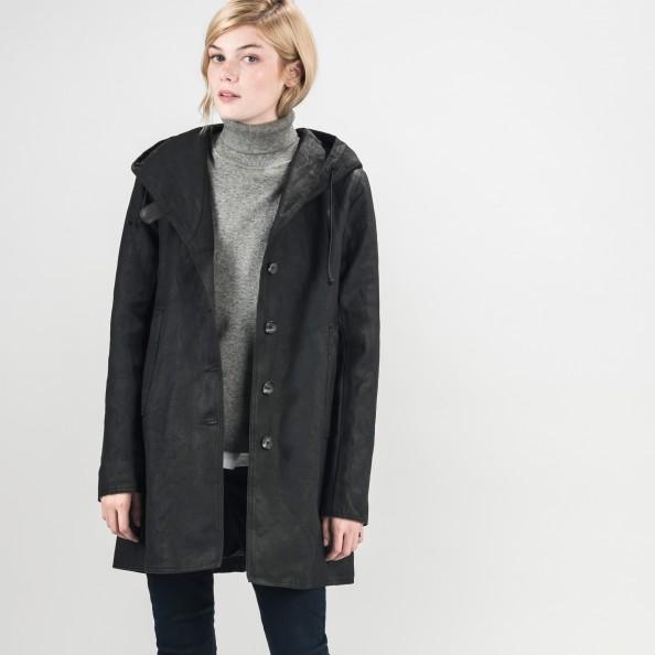 Noir Manteau trapèze à capuchon châle