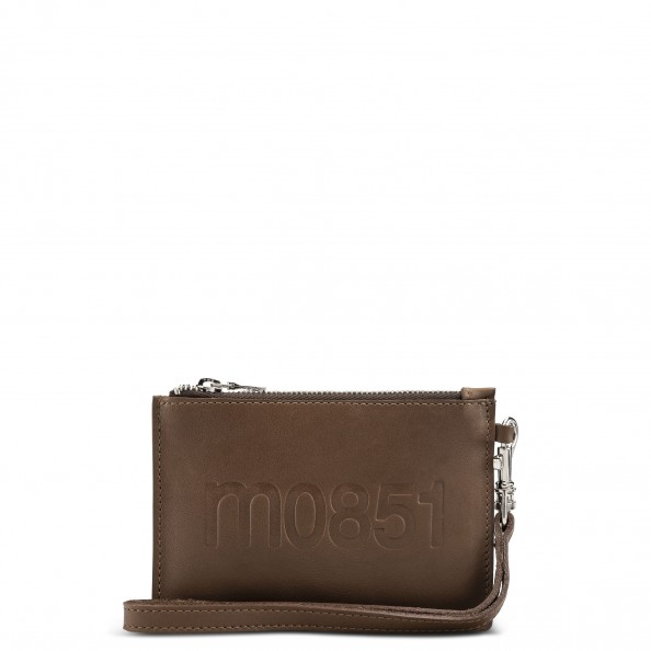 Tan Small Flat Pouch with Wristlet