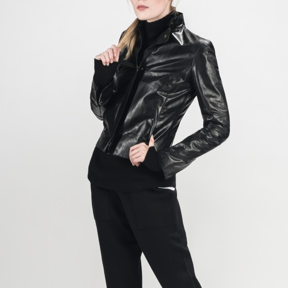 Black Women's Classic fitted jacket with stand collar
