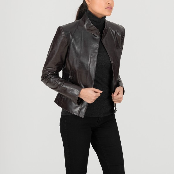 Brown Women's Classic fitted jacket with stand collar