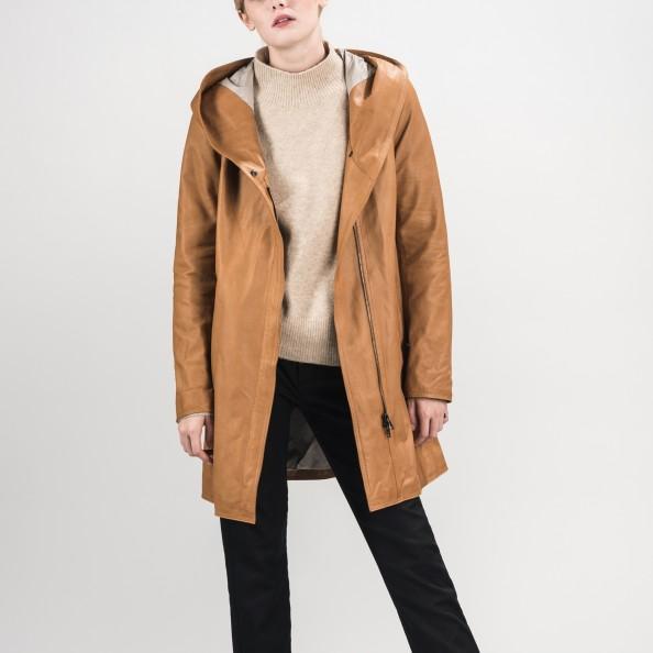 Chestnut Swing Raincoat with Shawl Hood