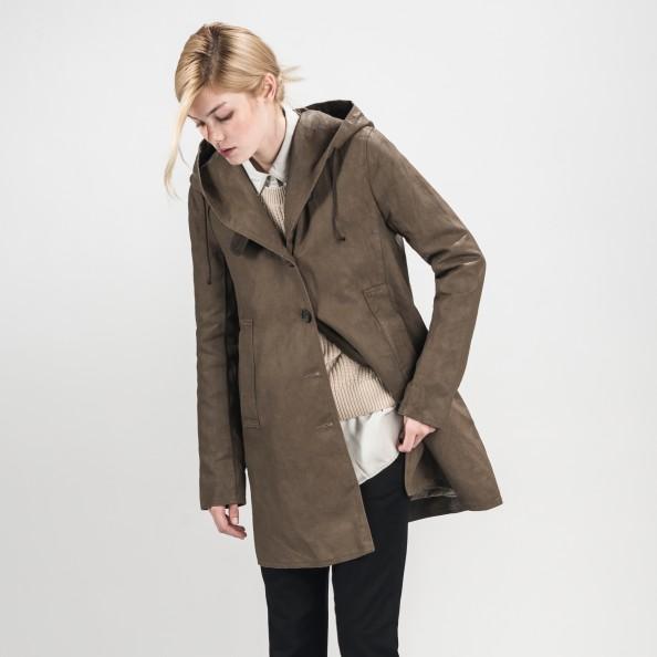Khaki Shawl Hood Swing Coat