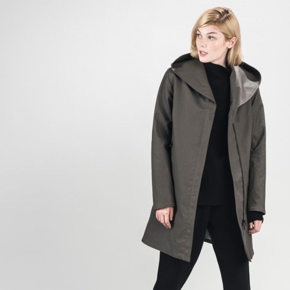 Moka Asymetrical Swing Coat with Shawl Hood