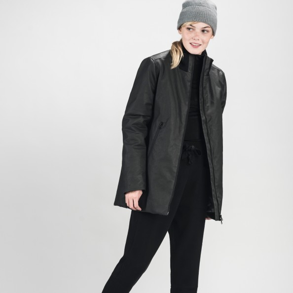 Black Long Bomber with Side Zippers