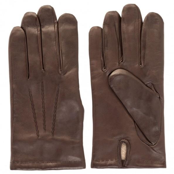 Brown Zigzag Stitch Gloves for men