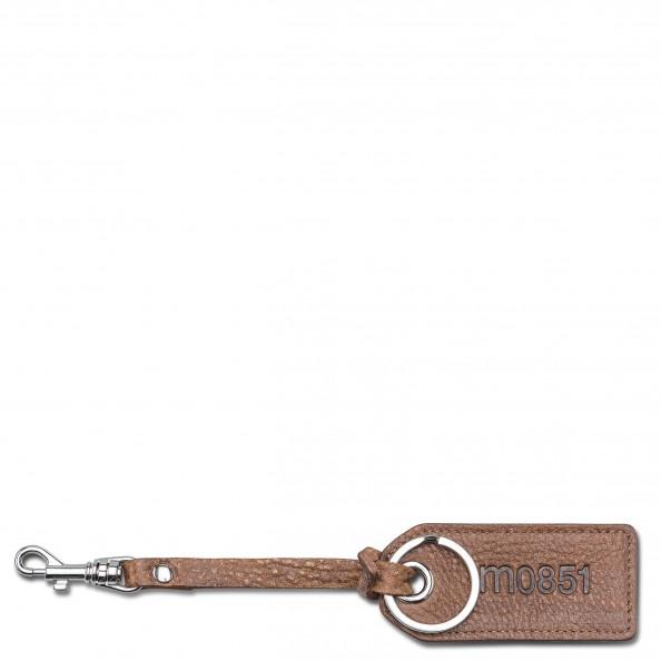 Châtaigne Porte-clé avec crochet et languette de cuir