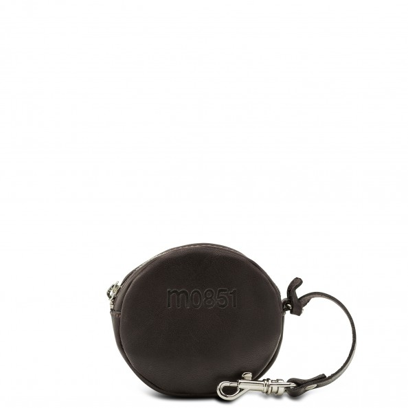 Brown Small Round Pouch with Hook