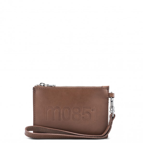 Chestnut Small Flat Pouch with Wristlet