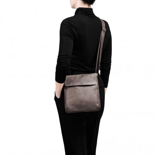 Ash Short Flap Vertical Messenger Bag
