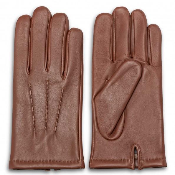 Rust Zigzag Stitch Gloves for men