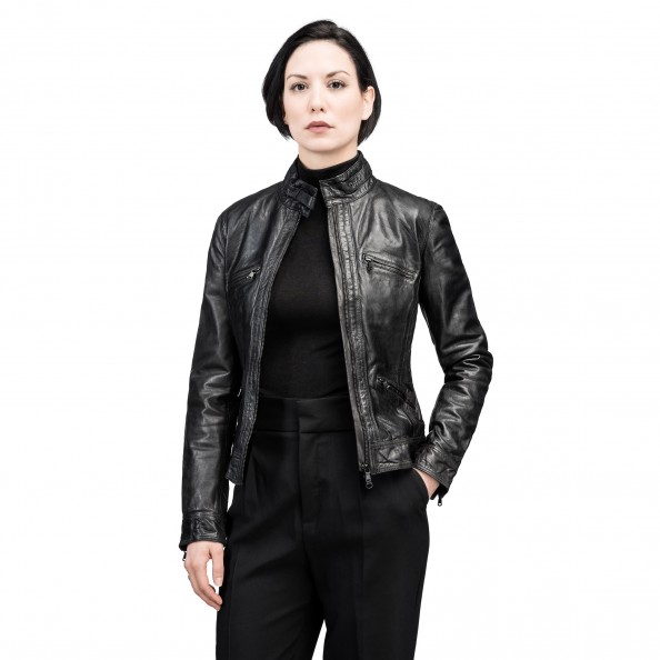Black Moto Jacket with four pockets