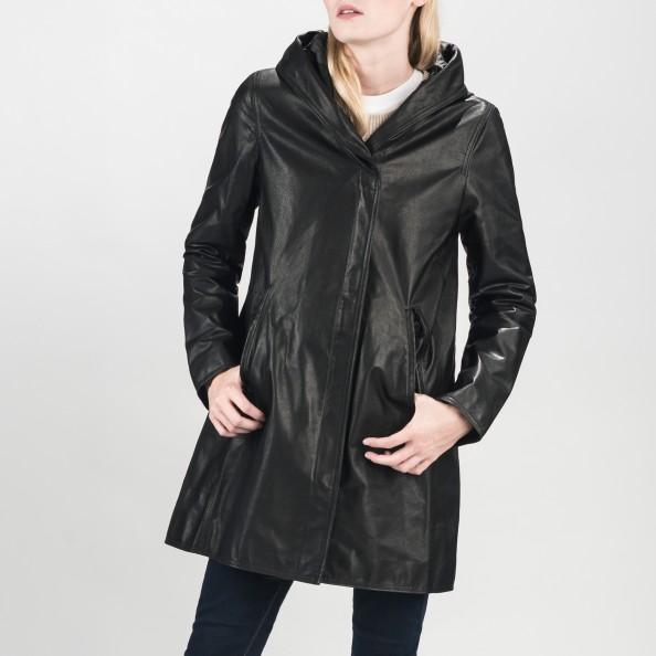 Black Swing Raincoat with Shawl Hood