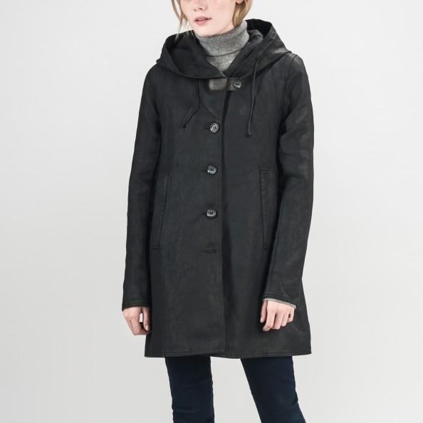 Black Shawl Hood Swing Coat