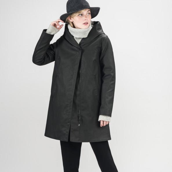 Black Asymetrical Swing Coat with Shawl Hood