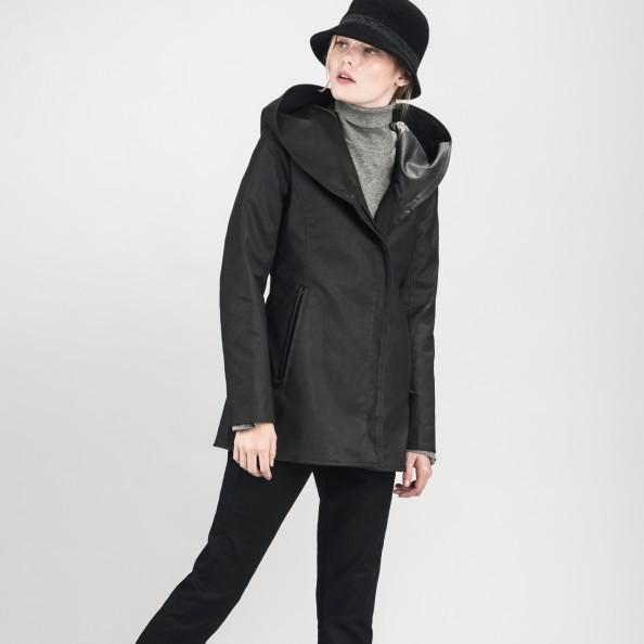 Black Fitted Shawl Hood Jacket