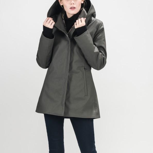Grey Fitted Shawl Hood Jacket