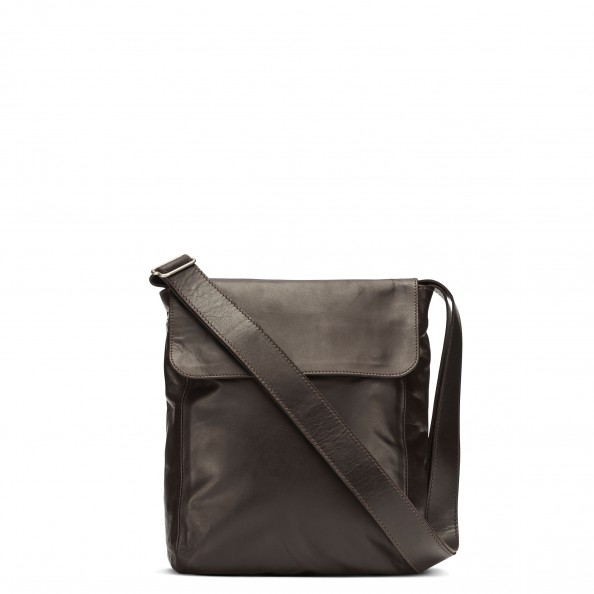 Brown Short Flap Vertical Messenger Bag