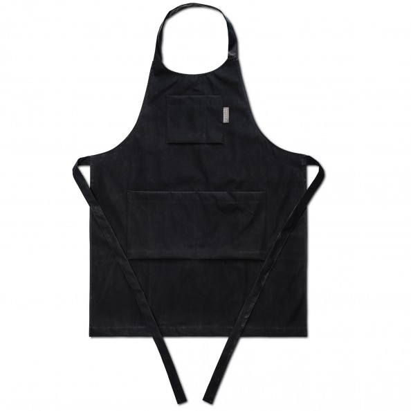 Black Carbon Apron with Leather Detail