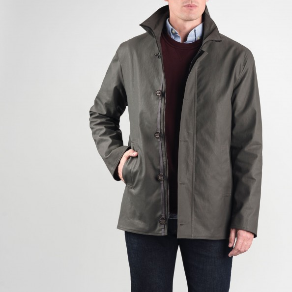 Grey Stand Collar Jacket with Buttoned Placket