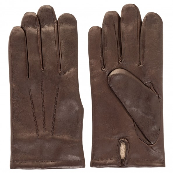 Brown Zigzag Stitch Gloves for men